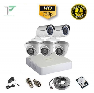 Trọn bộ 5 camera Hikvision 1.0MP HD720P