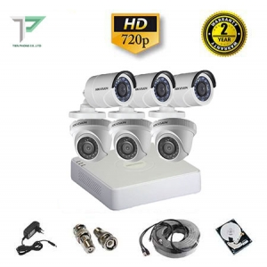 Trọn bộ 6 camera Hikvision 1.0MP HD720P